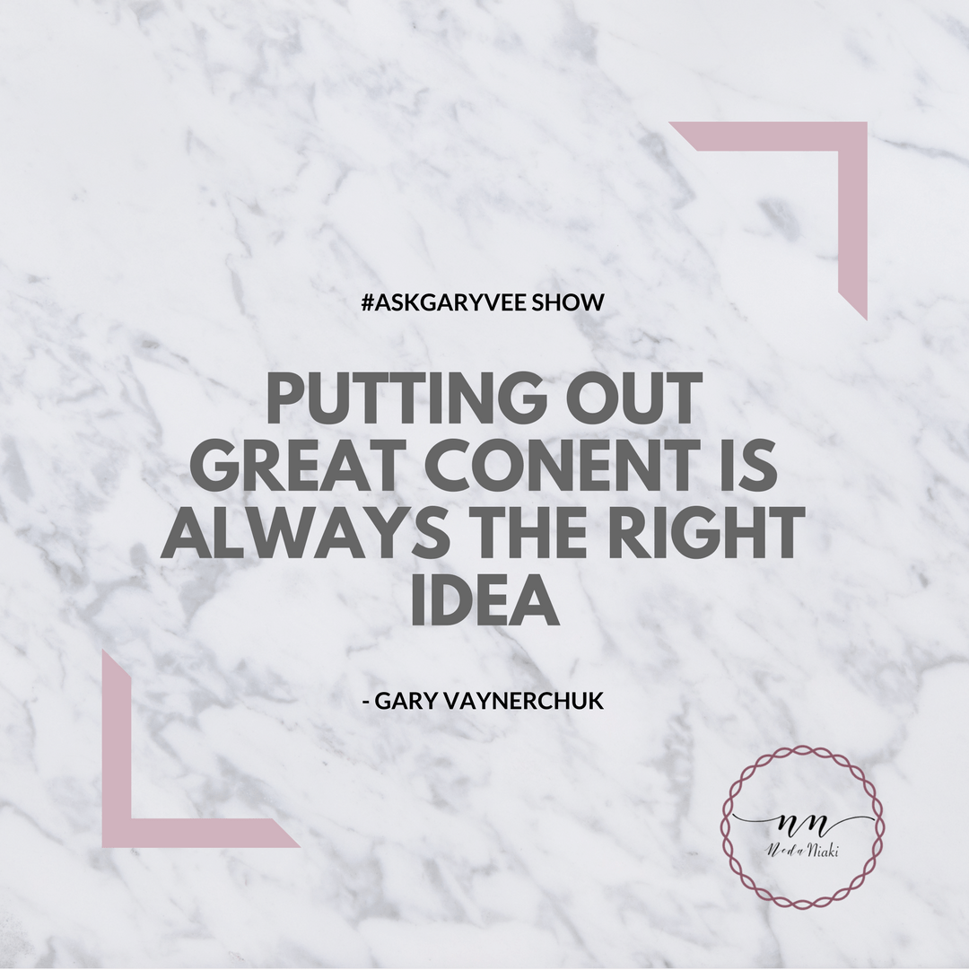 Content is king, marble, pink quote Gary Vaynerchuk